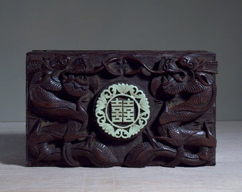 Antique Carved Wood Dragon Box