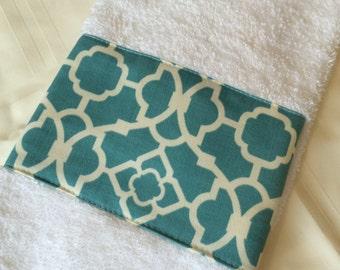 Blue Trellis White Bathroom Hand Towel