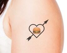 I Heart Cheeseburger Emoji Temporary Tattoo