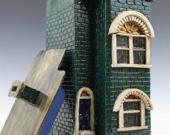 Evergreen Row House--Washington DC Row House Series // Ceramic Sculpture // Architectural Sculpture // Canister //Ceramic Sculpture // House