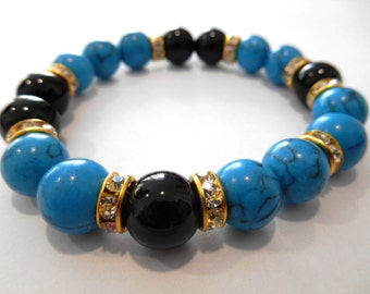 Black onyx and turquoise bracelet 10mm
