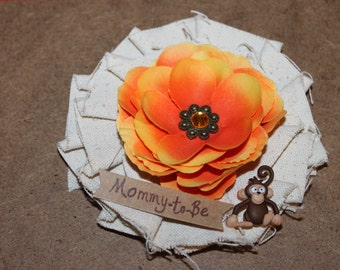 Monkey- Jungle Mommy-to-Be Baby Shower Corsage with Orange Flower/ Mom to Be Safari Shower Corsage/ Zoo Baby Shower Corsage/ Monkey Corsage