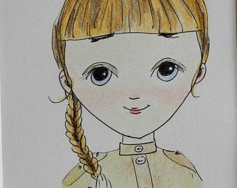 Illustration, portrait , Girl drawing, russian girl, illustration, original drawing,original art, cute girl illustration