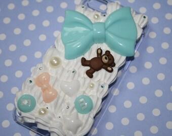 Sweet Mint White Peach Teddy Bear Kawaii Cute Decoden Decora Whipped Cream Pearl Rhinestone Case