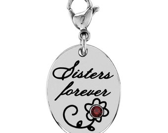 Sisters Forever Charm With Personalized Birthstone In Stainless Steel