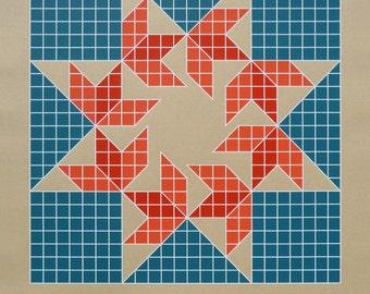 Barn Quilt / Silkscreen Print                                                                           HEXAFOOS Flying Sparrows (BL Grid)