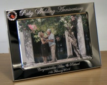 Engraved Silver Wedding Photo Frame With Diamante Crystals : Personalised Engraved Photo Frame 40th Ruby Wedding Anniversary Gift ...