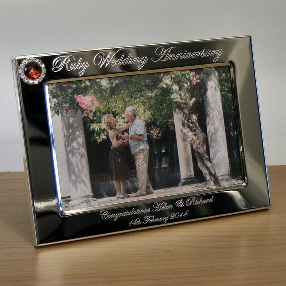 Personalised Engraved Photo Frame 40th Ruby Wedding Anniversary Gift ...