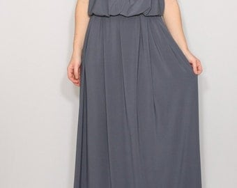 Gray bridesmaid dress Long grey dress Grey maxi dress