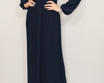 Navy blue dress Long sleeve dress Maxi dress Women