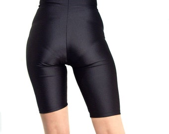 High waisted black spandex shorts