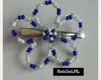 Blue and White Wire Crochet Flower Hair Pin