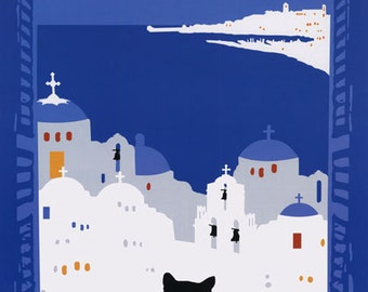 Greece Cat Travel Tourism Vintage Poster Repro FREE SHIPPING in USA