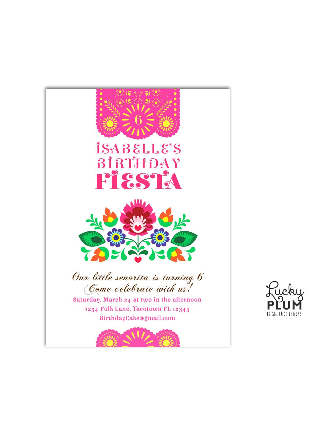 fiesta birthday invitation    papel picado invitation    folk