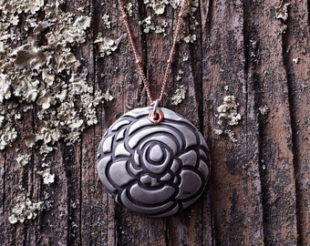 Fine Silver Metal Clay Pendant - Round/Dome Floral and Geometric Texture - NS101