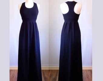 Black Maxi Dress Racer back floor length dress cotton jersey fabric scoop neck empire waist ankle length racerback tank dress made to order