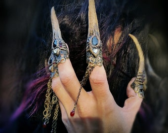 Dramatic Claw Rings Gothic Vampire Costume Nail Tips Hands Sculpted 5 Piece Set Made To Order Fantasy Steampunk Monster Design
