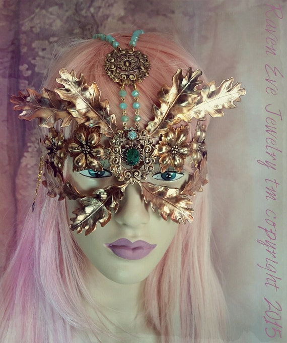 ON SALE Queen of the Forest Fairy Mask Vintage Copper tone brass leaves and glass All Hand soldered! Was 429.00 ready to ship