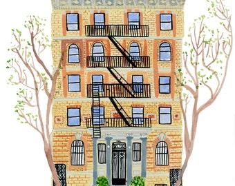 Brooklyn Townhouse Brick Building Boerum Hill Print of Gouache Painting