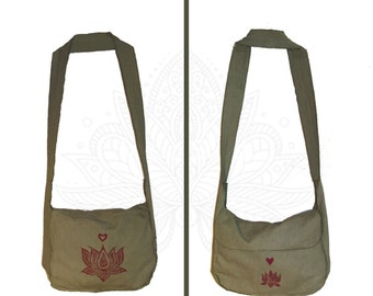 Lotus Print Bag Handmade from Organic Cotton and Hemp Muslin and Hand Dyed and printed - Cross body Strap or Shoulder Strap
