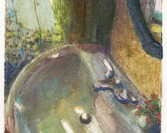 Framed Collagraph Still Life Bathroom Print Sink at the Old Mill Belinda DelPesco