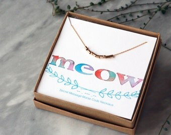 Morse Code Necklace, MEOW Necklace, Cat Kitten Jewelry, Secret Message Necklace, Morse Code Jewelry, Sterling Silver or 14k Gold Filled