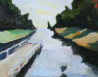 landscape art print serene and calm dock water and trees scene reproduction of original oil painting