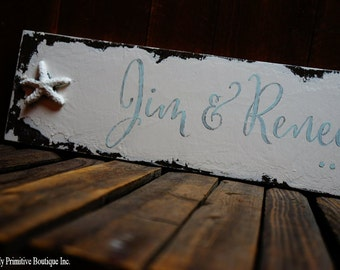 A LOVE STORY Sign, Custom Name Sign, Beach House Sign, Wedding Signs, Shabby Chic Sign, Starfish, Personalized Sign