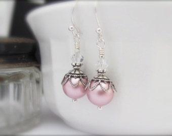 Sterling Silver Pearl Earrings Rose Swarovski Crystal Pearl Earrings, Victorian Style Dainty Dangle Drop, Wedding Bridal Bridesmaid