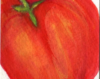 ACEO Original Red Bell Pepper Watercolor Painting Original, Art Card, Small Vegetable Painting, Pepper Art, small Kitchen Wall Art