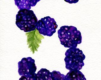 Blackberries Watercolor Painting  original ART 5 x 7  watercolor painting of blackberries, kitchen decor, fruit art, SharonFosterArt