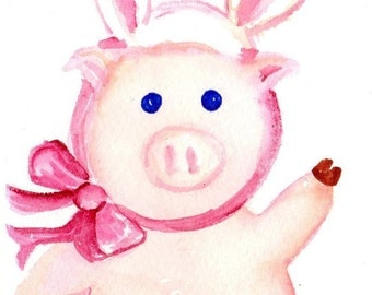 Cute pig watercolor, pig wearing bunny rabbit ears watercolors painting original, pig art, Bunny pig, funny animal art, original watercolor