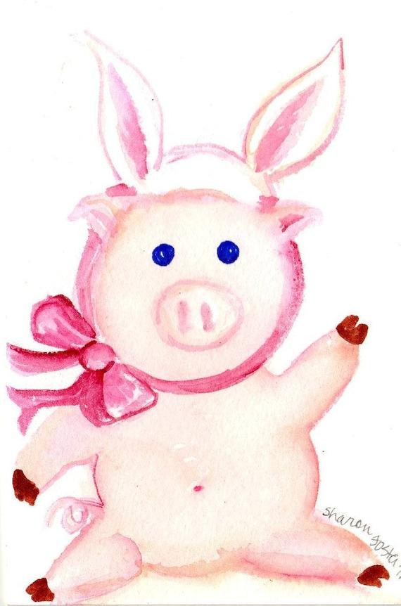Pig wearing bunny rabbit ears watercolors painting original - original PIG ART, Bunny wanna be, whimsical animal art, original watercolor