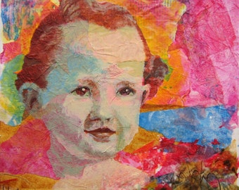 Original Art Young Child Female Toddler Girl Portrait on Abstract Background Colorful Painted Texture Mixed Media Collage Framed