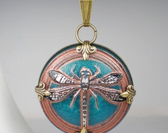 Dragonfly Necklace Teal Brown Czech Glass Button Oxidzed Brass Vintage Inspired Jewelry