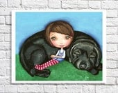 Black Lab Art Girl And Her Dog Artwork Girl With Dog Decor Labrador Retriver Gifts Dog Picture Black Lab Illustration Girls Wall Art Print