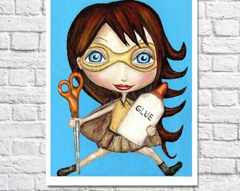 Cut And Paste Girl Art Print Cute Redhead Superhero Art Crafty Girl Illustration Kids Craft Room Decor Ideas Elementary School Teacher Gift
