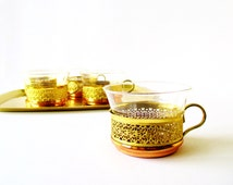 Copper & Brass Filigree Tea Set and Serving Tray Five Midcentury Copper Brass Glass Tea Cups Holders Jenaer Glasses Barware Coffee Cups