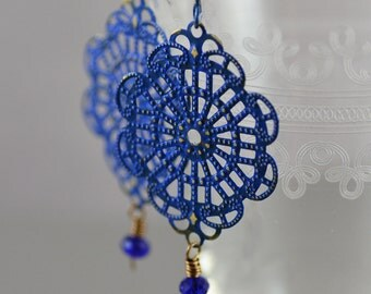 Hand-painted Cobalt Blue Brass Filigree Earrings