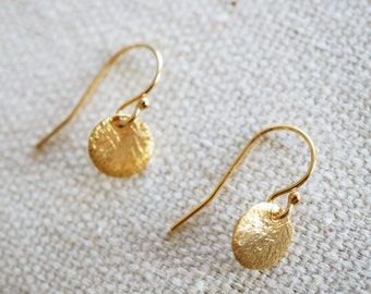 Tiny Gold Vermeil Coin Earrings with 14K Gold-fill Earwires (Dawn)