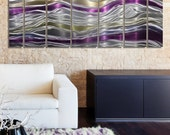 NEW! Silver, Purple and Gold Abstract Metal Painting - Modern Metal Wall Art - Contemporary Wall Sculpture - Endeavor by Jon Allen
