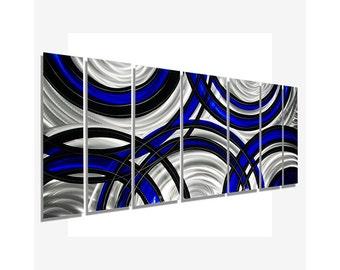 Blue, Black & Silver Abstract Metal Art, Modern Metal Wall Painting, Large Handmade Metal Wall Sculpture - Crossroads Blue by Jon Allen