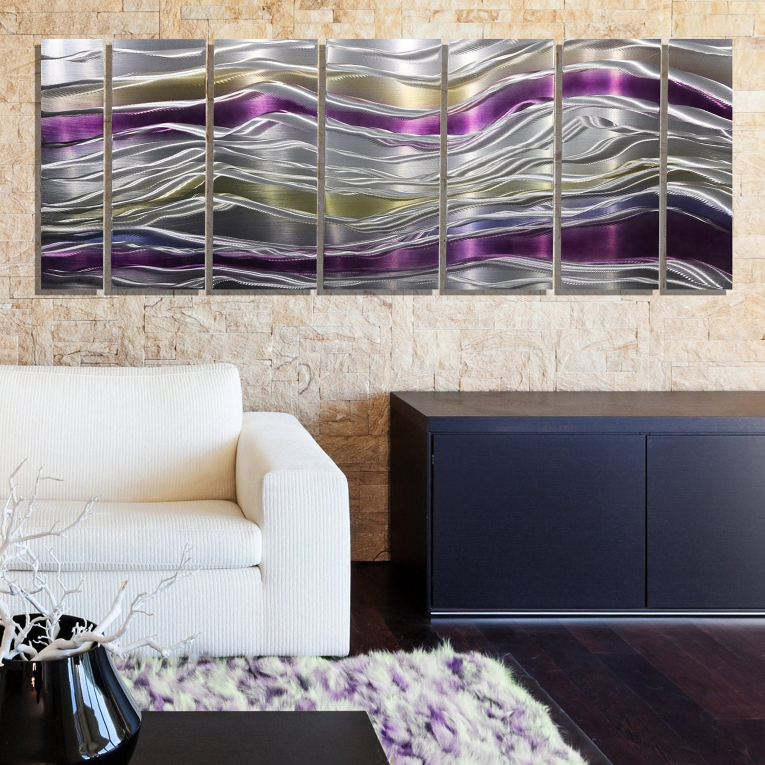 New silver purple and gold abstract metal painting modern for Silver bedroom wall art