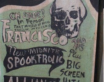 Old Spook Show Poster reproduction painting Green Black Skull Francisco Halloween vintage style
