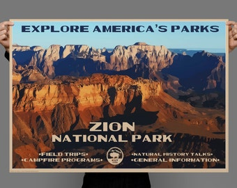Zion Nation Park, Zion Canyon, Vintage style Park Poster, Typography, Original Painting, Digital Art Download Print or Poster