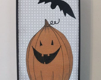Halloween Pumpkin Wall Art, Reproduction  Art Print , Whimsical Collage Art