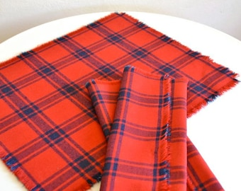 Table Linen Set / Red & Blue Plaid Linen Cotton Cloth Napkins / Set of 4 / Small Size