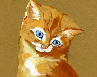 """Little Cat Contemplates Your Pain and Suffering 5"""" x 7"""" Print"""