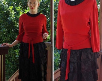 RUBY 1920's 30's Vintage Deep Red Flapper Dress with Ruffled Tiered Black Satin + Long Sleeves // size Small