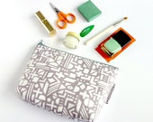 make up bag Shapes in Grey, hand illustrated geometric pattern, bag with waterproof coating, cosmetics purse